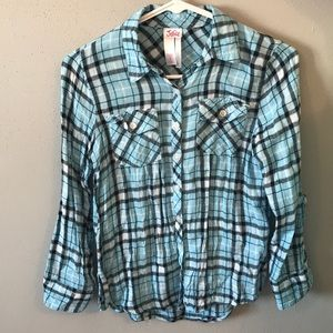 blue girl size 8 flannel